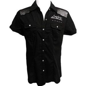 Ladies Harley Davidson Button Down Collar Shirt XS